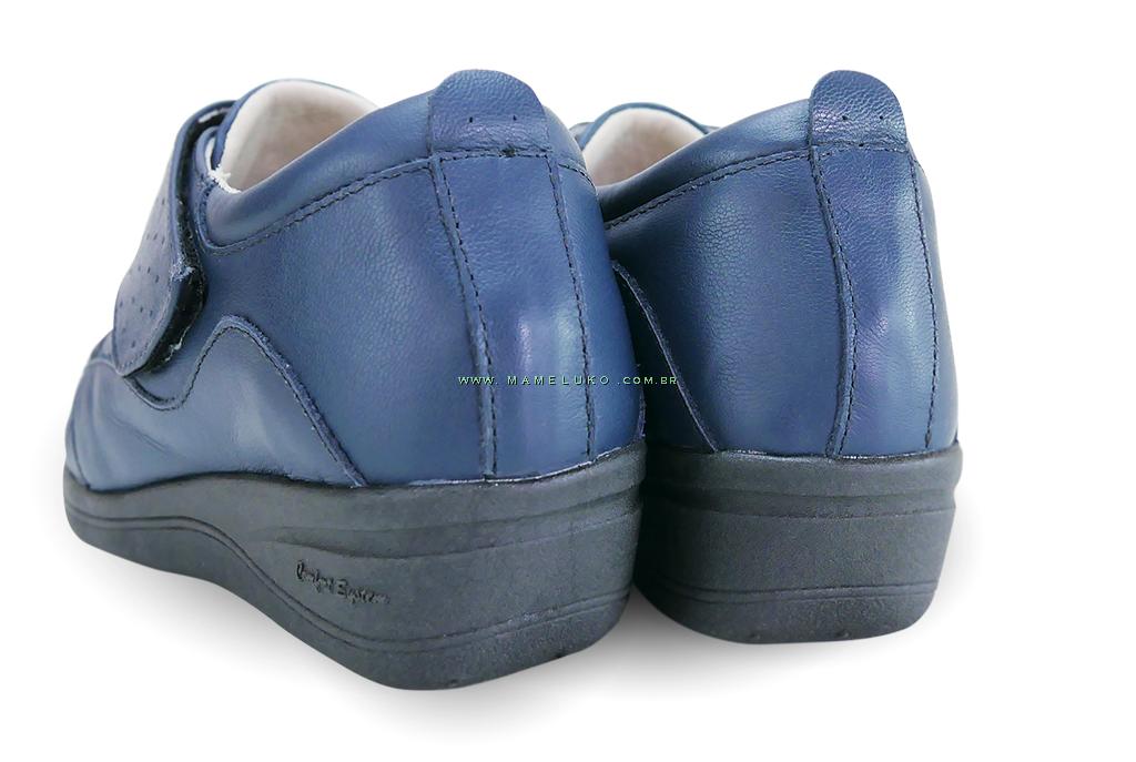 bd5d4fc2f ... Sapato em Couro Salto Anabela REF 084 - Azul Marinho ...