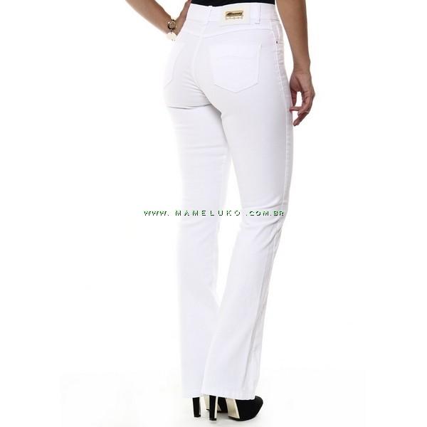 14025773e ... Calça Jeans Feminina Sawary Flare Hot Pants Detalhe Dourado - Branca ...