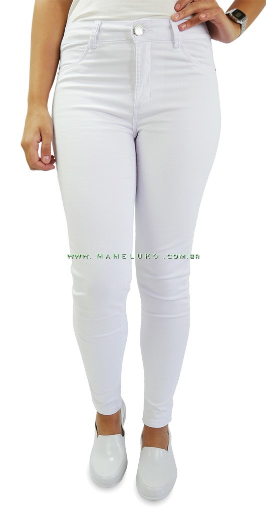 Calça Jeans Feminina Sawary Cigarrete Hot Pants - Branca b774bf847e9