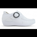 Sapato em Couro Salto Anabela REF 082 - Branco