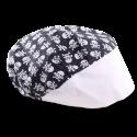 Touca Profissional Caveiras Rock - Preta com Aba Branca