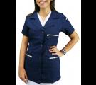 Jaleco Feminino Manga Curta Estilo Enfermeira Padrão - Azul Marinho