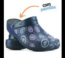 Babuche Profissional Plus Estampado com Palmilha Corações Rosas - Azul Marinho