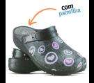 Babuche Profissional Plus Estampado com Palmilha Corações Rosas - Preto