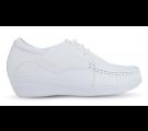 Sapato em Couro Salto Anabela com Cadarço - Branco