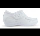 Sapato em Couro Salto Anabela Detalhe Lateral - Branco