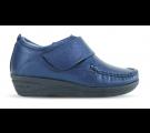 Sapato em Couro Salto Anabela Detalhe Lateral - Azul Marinho