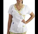 Scrubs Blusa Decote V Branco - Estampa Menininhas