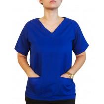 Blusa Profissional Oxford Com 2 Bolsos Estilo Scrubs - Azul Royal