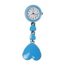 Relógio de Jaleco Metal Coração - Azul Bêbe