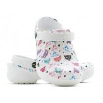 Sapato Kemo Profissional 2 - Branco Estampado Gatinha