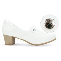 Sapato Branco Feminino 5227 - Branco com Pin Esteto Love
