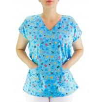 Blusa Scrubs Hospitalar Estampa Clinica - Azul