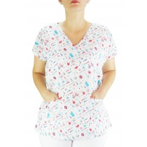 Blusa Scrubs Hospitalar Estampa Clinica - Branca