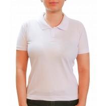 Camiseta Gola Polo modelo Baby Look Feminina - Branco