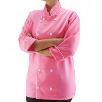 Dólmã Profissional em OXFORD UNISSEX manga 3/4 - Rosa Pink com botões brancos