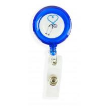 Porta Crachá Retrátil Esteto Coração Azul - Azul Translucido