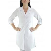 Jaleco Feminino Microfibra com Cinto 2 botões e Martingale - Branco