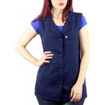 JalecoAvental Cavado Enfermeira Padrão Plus Size - Azul Marinho