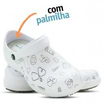 Babuche Profissional Soft Works Estampado Com Palmilha - Área da Saúde - Branco