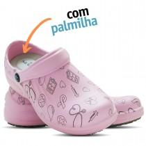 Babuche Profissional Soft Works Estampado Com Palmilha - Área da Saúde - Rosa