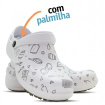 Babuche Profissional Soft Works Estampado Com Palmilha - Cozinha Pta - Branco