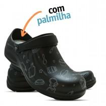 Babuche Profissional Soft Works Estampado Com Palmilha - Cozinha Bco - Preto