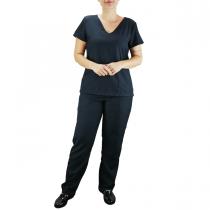 Conjunto Scrubs Feminino Pijama Cirúrgico Blusa e Calça - Preto