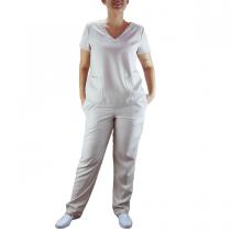 Conjunto Scrubs Feminino Pijama Cirúrgico Blusa e Calça - Areia