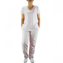 Conjunto Scrubs Feminino Pijama Cirúrgico Blusa e Calça - Rosa Claro
