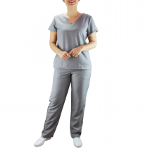 Conjunto Scrubs Feminino Pijama Cirúrgico Blusa e Calça - Cinza Grafite