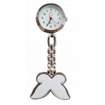 Relógio de Jaleco Metal Borboleta - Branco