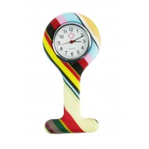 Relógio de Jaleco Silicone Estampada Listras - Colorida
