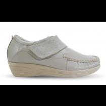 Sapato em Couro Salto Anabela REF 084 - Beg