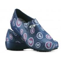 Sapato Lady Works - Corações Rosas - Azul Marinho
