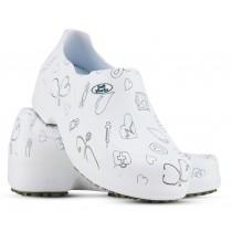 Sapato Profissional Soft Works II Estampado Branco - Ícones Pretos
