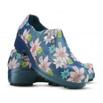 Sapato Profissional Soft Works II Estampado Flor Rosa - Azul Marinho