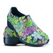 Sapato Profissional Soft Works II Estampado Flor Verde - Azul Marinho