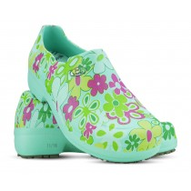 Sapato Profissional Soft Works II Estampado Flor Verde - Verde Medicina