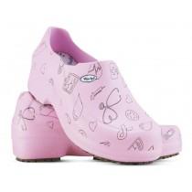 Sapato Profissional Soft Works II Estampado Rosa - Ícones Pretos