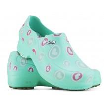 Sapato Profissional Soft Works II Estampado Verde Hospitalar - Corações Rosas