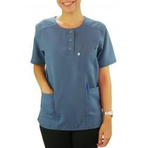 Scrubs Blusa Modelo Unissex com Botões - Azul Indigo