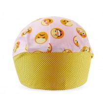Touca Elástica Profissional Emoticons - Rosa com Aba Amarela