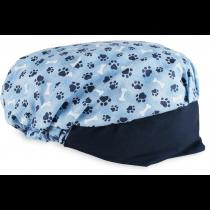 Touca Elástica Profissional Patinhas - Azul com Aba Azul Marinho