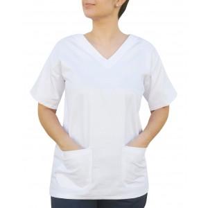 Blusa Profissional Brim Com 2 Bolsos Estilo Scrubs - Branca