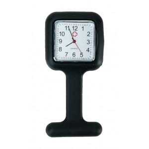 Relógio de Jaleco Silicone Quadrado - Preto