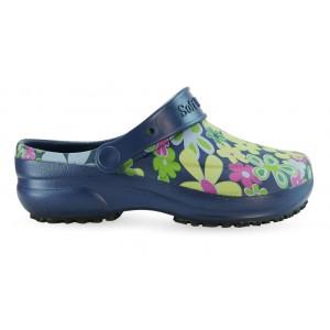 Babuche Profissional Soft Works Estampado Flor Verde - Azul Marinho