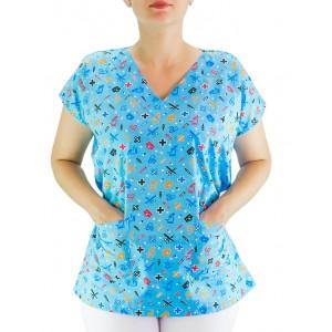 Blusa Scrubs modelo Bata Hospitalar Estampa Clinica - Azul