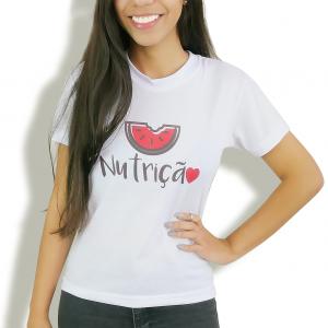 Camiseta Baby Look Feminina Nutrição - Branca