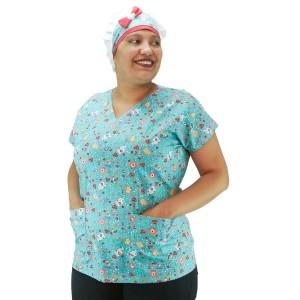 Blusa Scrubs modelo Bata Hospitalar Estampa Clinica - Verde